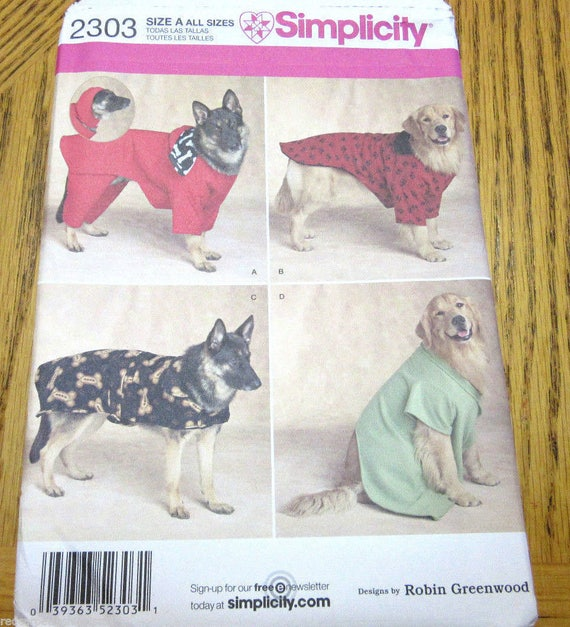 Simplicity 2303, Dog Coats Pattern, Extra Large Dogs, Sew It, DIY ...