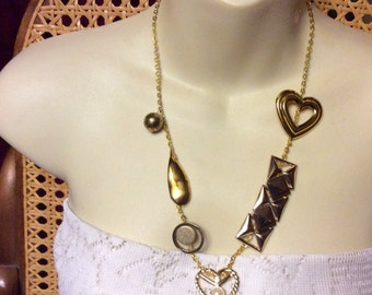 Hand made by me upcycled jewelry necklace. Free ship to US