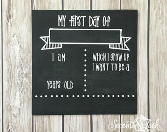 DIY KIT-  Chalkboard Sign - Craft Kit - Create your own - Reusable Sign - Back to School - Do it Yourself Kit - First Day of School Picture