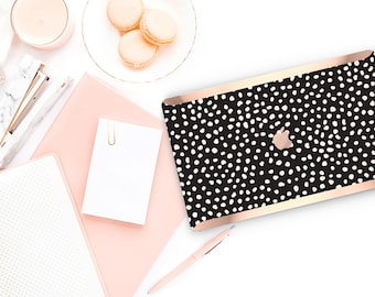 Macbook Pro 13 Case Macbook Air Case Laptop Case Macbook Case . Dots and Black with Rose Gold Chrome Edge             - Platinum Edition