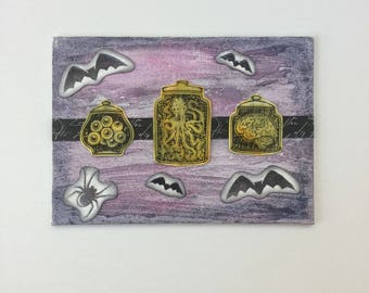 Halloween Jars - Watercolor - Mixed Media Painting