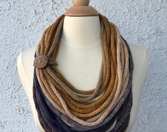 Knitted Womens Scarf Neckwarmer Neclace Light and Simple Mustard Yellow Gray and Soft Navy Blue