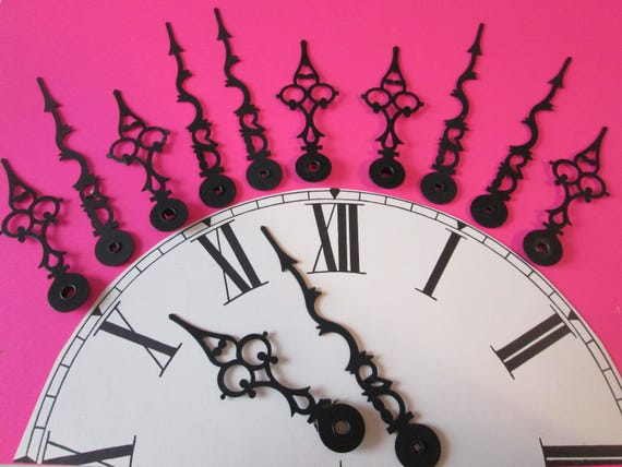 "6 Pairs of 4 1/8"" and 3 1/8"" Vintage Black Serpentine/Gothic Design Clock Hands for your Clock Projects, Jewelry Crafts, Steampunk Art"