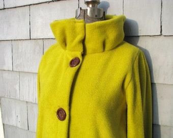 High Collar Jacket, Sweater, Cardigan Chartreuse Button Up Fleece