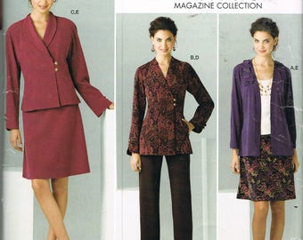 Size 10-18 Misses Jacket & Skirt Sewing Pattern - Side Button Shawl Collar Jacket Pattern - Knee Length Skirt Pattern -  Simplicity 2288
