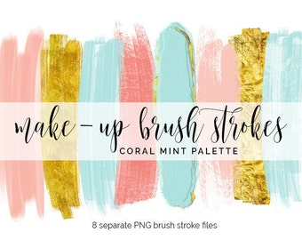 Handpainted brush strokes // watercolor brush stroke // make-up brush clip art // gold glitter // gold brush strokes