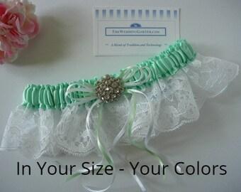 Satin Wedding Garter in Your Colors. OPTIONAL Embroidery Personalization, Garters, Bridal Garter, Wedding Garters