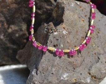 Pink Ruby Necklace, Briolette  (JK 641)