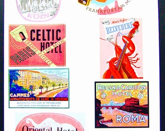 Vintage Luggage Label Images Paper, on Card Stock 8.5 X 11 Sheet P-1. NOT Digital.