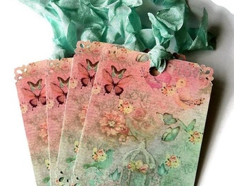 ON SALE 8  Cottage Chic Floral Gift Tags, Birdhouse Birds butterflies Green and Pink,  Party Favor Tags, Handmade, Takuniquedesigns