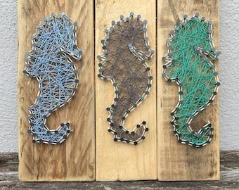 Seahorse String Art, beach, seaside, home decor.