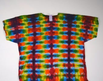 Rainbow Starship Engines Tie Dye T-Shirt (Fruit of the Loom Heavy Cotton Size 4XL) (One of a Kind)