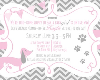 Dachshund Dog Baby Shower Invitations Girl Pink Grey - Dog Baby Shower Invites Chevron - Pink Grey - Dachshund Baby Shower Invites Paw Print