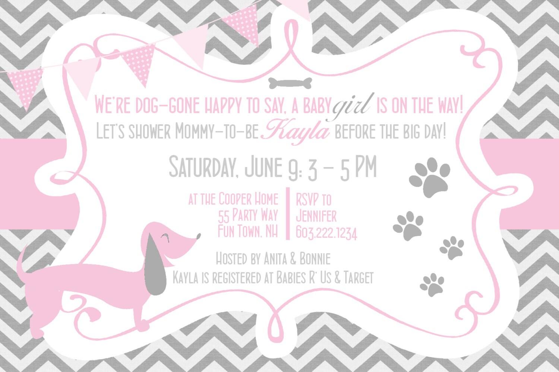 Dachshund Dog Baby Shower Invitations Girl Pink Grey Dog