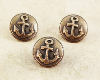 Anchor Metal Buttons 19mm Bronze Antique Brass Nautical Qty 3