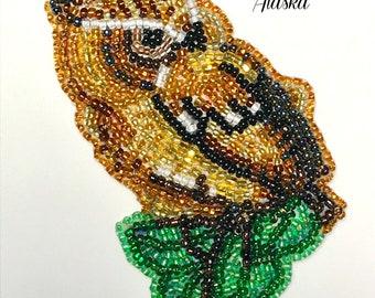 "Alaska Handmade Beaded Baby Owl-3-1/4 L x 2-1/4 W"" in Czech Glass Beads"