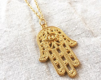 Hamsa necklace, hand of Fatima necklace, embellished pendant necklace in Tibetan silver or gold