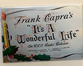 "It's a wonderful life movie title christmas 2"" x 3"" Fridge magnet Frank Capra"