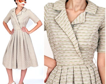 Vintage 1950s Taupe and Green Striped Day Dress with Full Skirt | XXS XS