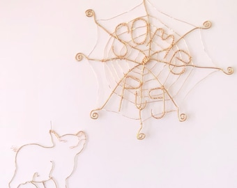 Charlotte's Web Wire Art - Some Pig Web with Wilbur Pig Wire Art - Charlotte Web Wilbur Wire Sculpture - Spider Web Wire Art - Pig Wire Art