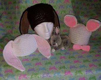 Crocheted Bunny Hats **Ready to Ship**