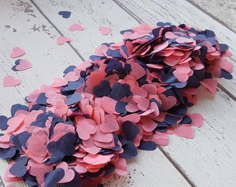 Navy blue and coral mix heart confetti!Wedding,party decoration,throwing! Romantic Biodegradable 2- 10 handfuls