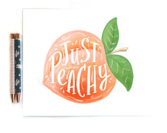 Fruit Peach Quote 'Just Peachy' or 'Peachy Clean' Wall Art Print Home Decor Illustration 8 x 10