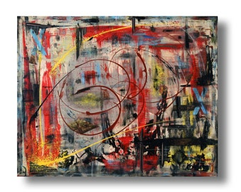 """Large Abstract painting 30""""x24""""x1.25"""" mixed media on Gallery wood """"Title 23"""" by K. Davies"""