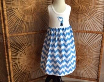 UNC TARHEELS APPLIQUED tank dress! girls white tank (or short or long sleeves) with Tarheel applique over Carolina blue chevron dress