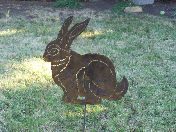 items similar to rabbit bunny garden stake metal yard art stake great x