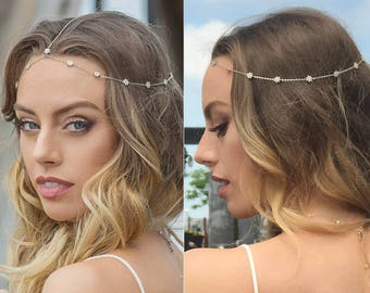 bohemian wedding headpiece, Silver Bridal Headpiece, bridal hair accessories, bridal headbands, Wedding hair accessories, prom hair, H057-S