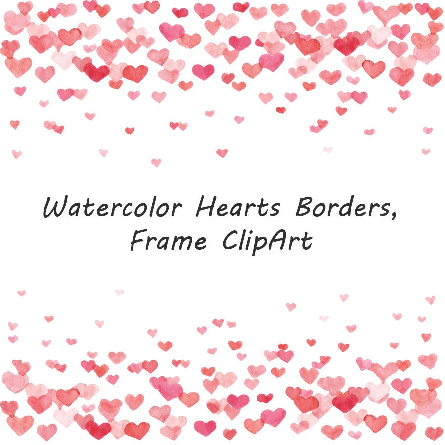 Watercolor Hearts Borders clipart Frame Clipart Watercolour
