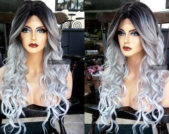 Silver Gray Ombre Human Hair Wig