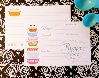 Recipe Cards, Recipes, Housewarming Recipe Party, Bridal Shower Recipe Cards, Mother's Day Recipe Cards, Vintage, Pyrex Recipe Cards 4x6