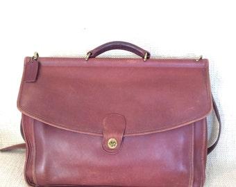 Vintage COACH Beekman brown leather briefcase work bag attache  messenger 1995