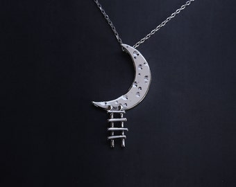DREAMER - sterling silver pendant - moon and ladder necklace - made in Italy - calcagninigioielli