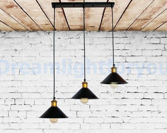 3 Lights on a bar Iron Pendant Light Fixture Industrial lighting Hanging light Pendant lighting Modern lighting Dinin g room light