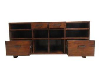 Mid Century Danish Modern Style Walnut Sideboard Media Stand Console Buffet