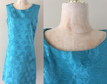 1970's Turquoise Blue Floral Brocade Shift Dress Size Medium by Maeberry Vintage