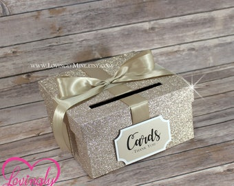 Card Box Champagne Glitter | Gift Money Card Box for Any Event | Silver Champagne