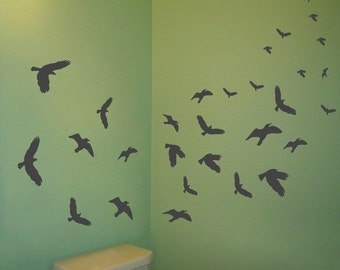 Flying Birds - Set of 30 -  Wall Decals - Your choice of color