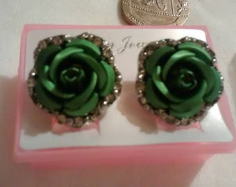 Beautiful designer style Rose earrings. Antique green. cc style rose.