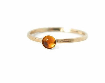 Citrine Gold Ring, Citrine Rings, Solitaire Rings, Citrine Jewelry, Gold Rings, November Birthstone, Tiny Gemstone Rings