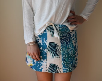 Skirt,Beach skirt coverup,summer skirt,bathing suit skirt,swim cover up,resort wear, surfer girl,A-line panel mini skirt,strapless babydoll