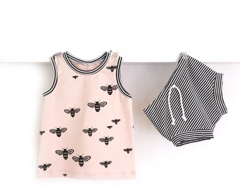 BEE Baby summer outfit - take home outfit GOTS - BEE top tank + striped baby shorties
