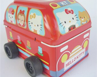 Vintage Hello Kitty Bus Red Toy Bus Red School Bus Vintage Sanrio Bus Red Tin Can Vintage Red Car Kawaii Red Bus Vintage Japanese Kawaii
