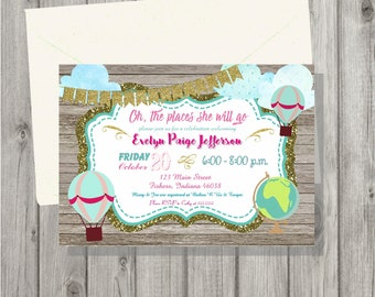 Digital Oh The Places She Will Go Baby Girl Shower Invitation Personalized Printable