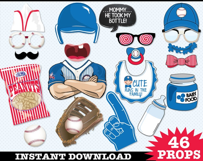 Baseball Baby Shower Photo Booth Props, Little Slugger, Retro Baseball, Baseball Birthday -  Instant Download PDF - 46 DIY Printable Props