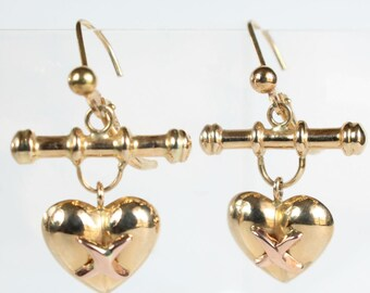Crossed Heart Earrings 14k Gold Rose Gold Cross French Lever Back Wire Gift for Her