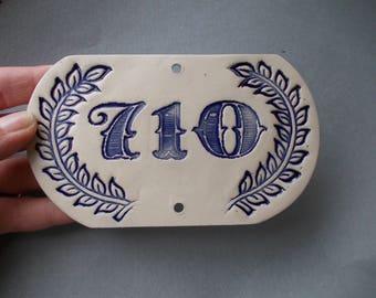CUSTOM House Number / Door Number / Door Decor / Vintage decor / Door Plaque / Numerals / Blue sign / Door Sign